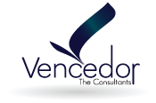 The Vencedor logo comprises of the symbol and the corporate name in a fixed relation with each other. The symbol represents the reach of Vencedor in the field of business process management outsourcing.